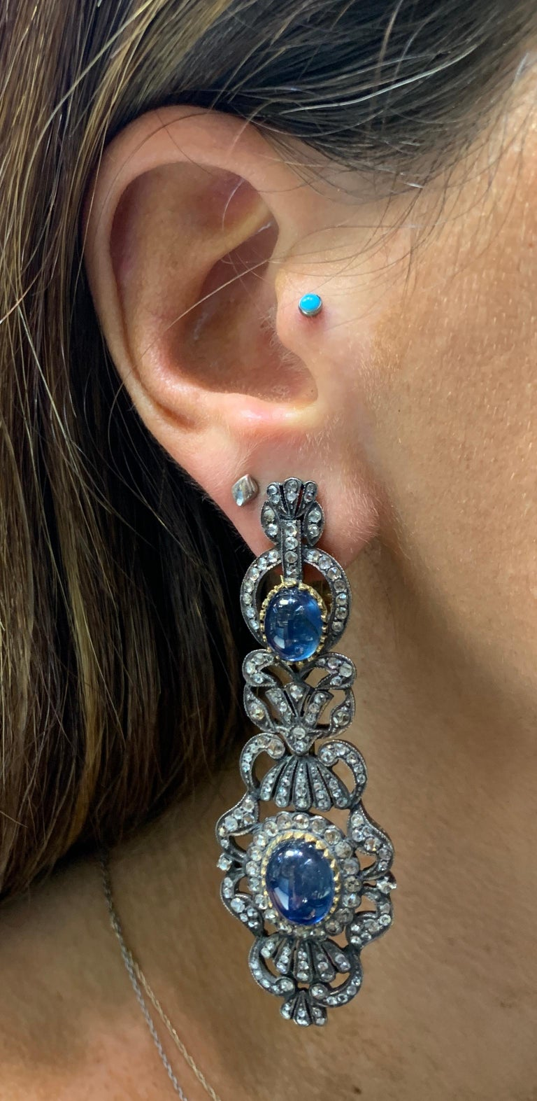 Victorian Antique Cabochon Sapphire and Diamond Earrings For Sale