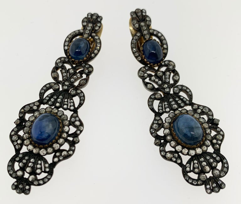 Antique Cabochon Sapphire and Diamond Earrings In Excellent Condition For Sale In New York, NY