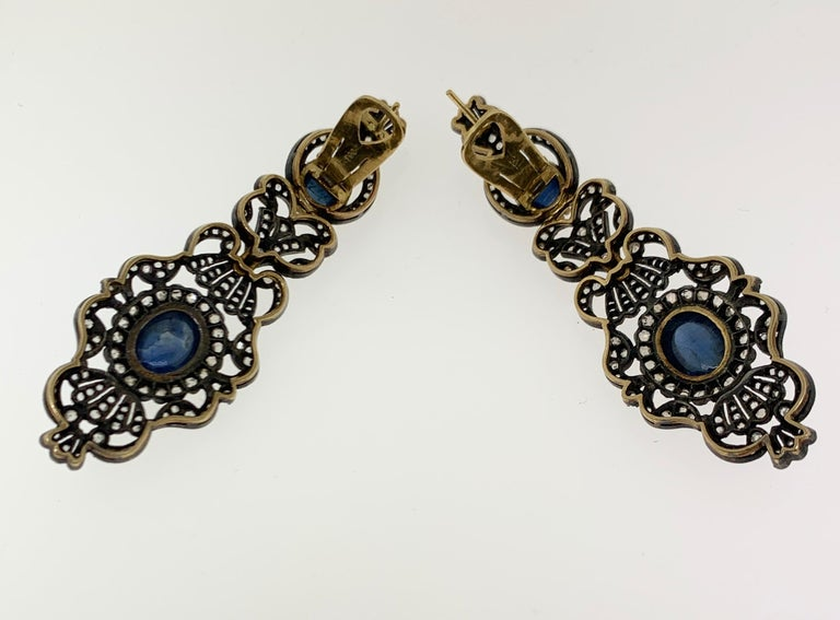 Antique Cabochon Sapphire and Diamond Earrings For Sale 1