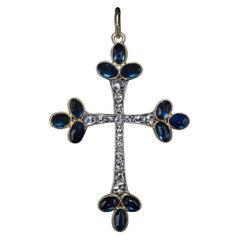 Antique Cabochon Sapphire Rose Cut Diamond Cross Pendant