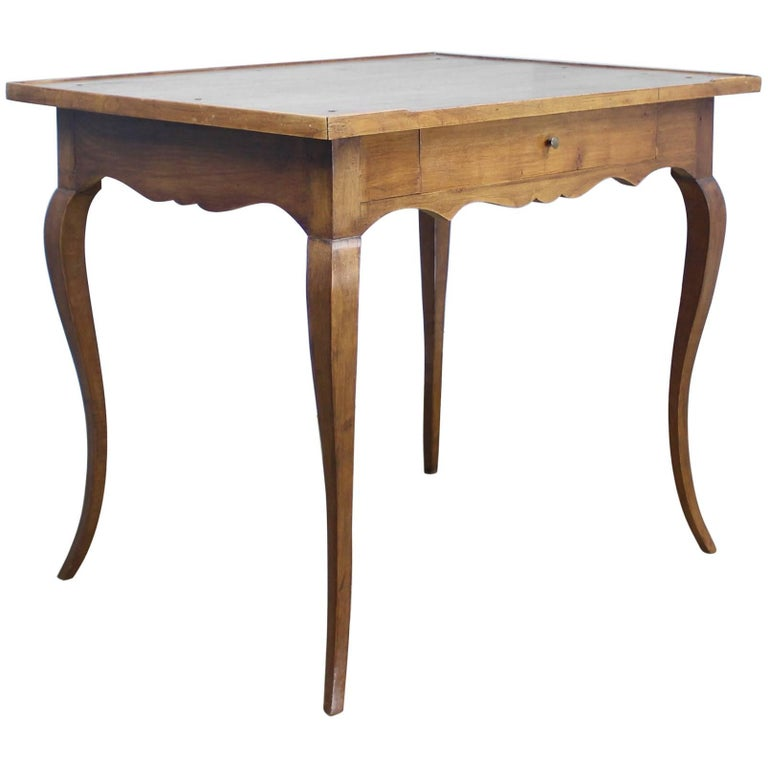 Antique Cabriole Leg Walnut Side Table For