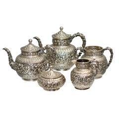 Antique Caldwell Silver Tea & Coffee Service