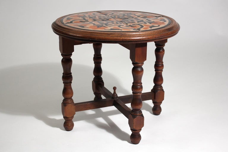 Antique California Mission Taylor Malibu Wood and Tile Top Side Table In Good Condition For Sale In San Diego, CA