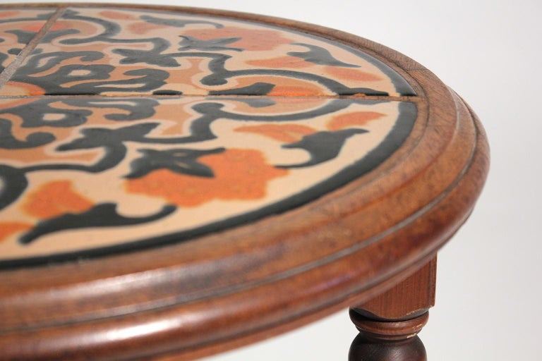 Antique California Mission Taylor Malibu Wood and Tile Top Side Table For Sale 2
