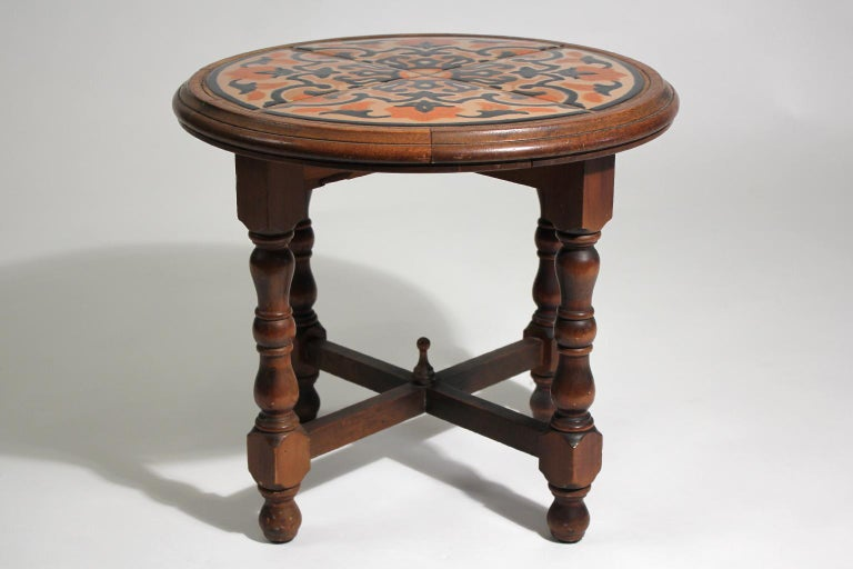 Antique California Mission Taylor Malibu Wood and Tile Top Side Table For Sale 4