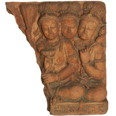 Antique Cambodian Red Terracotta Temple Sculpture with Divinities and Lotus