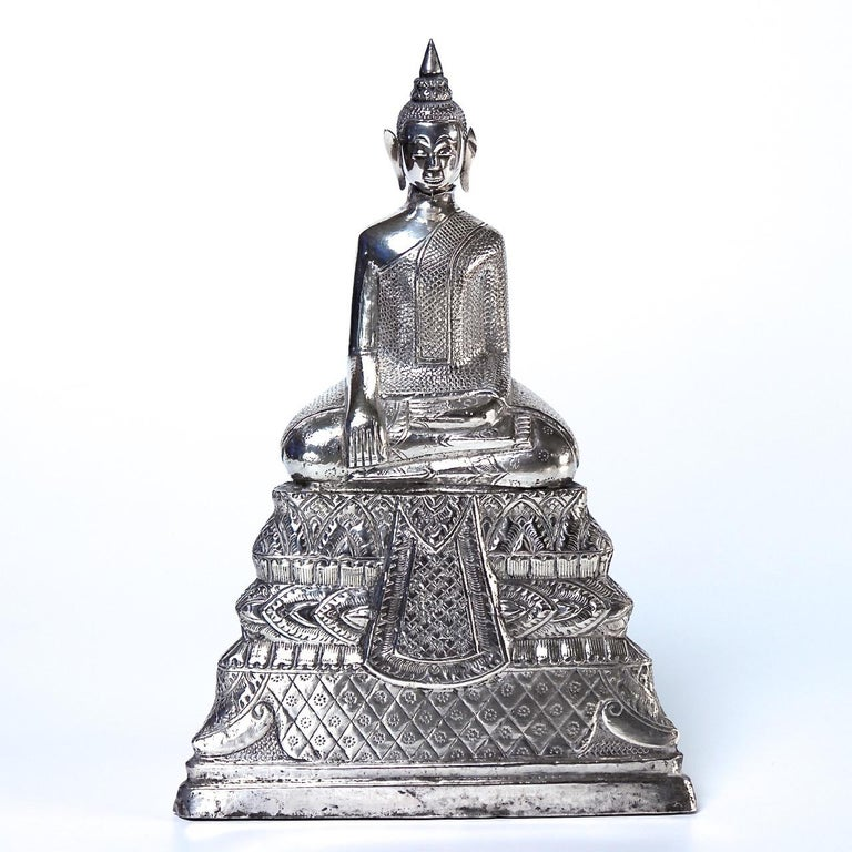Mid-19th Century Antique Cambodian Silver Seated Buddha Sculpture For Sale