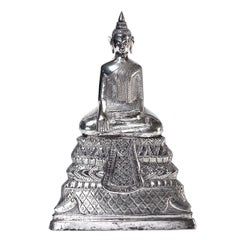 Antique Cambodian Silver Seated Buddha Sculpture