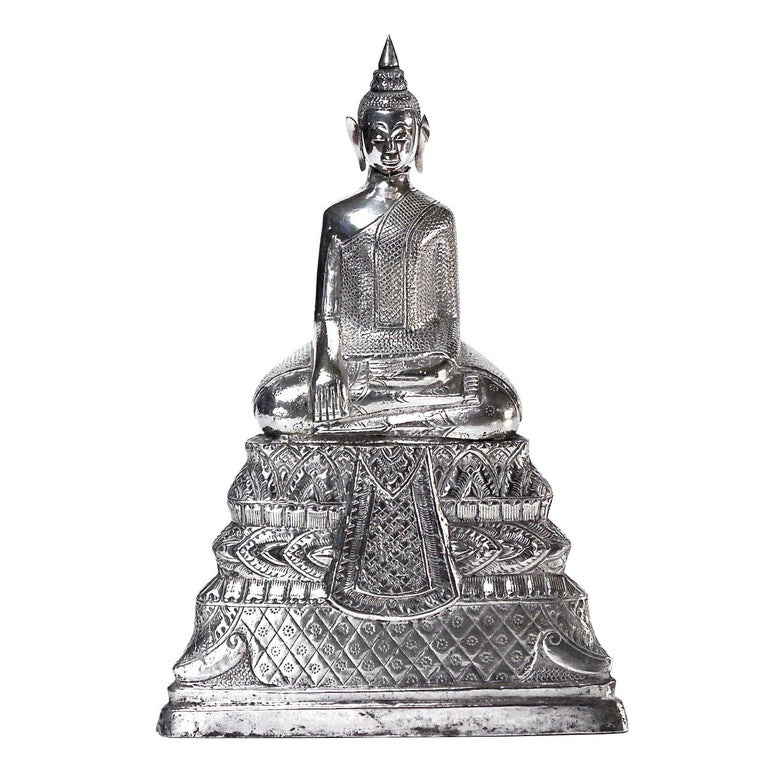 Antique Cambodian Silver Seated Buddha Sculpture For Sale