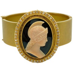 Antique Cameo and Diamond Gold Bracelet