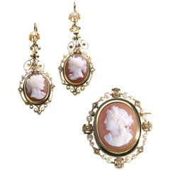 Antique Cameo Suite Enamel Pearl Diamond and Gold, circa 1850