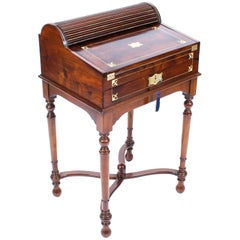 Antique Campaign Anglo-Indian Padouk Tambour Writing Slope Desk, 19th Century