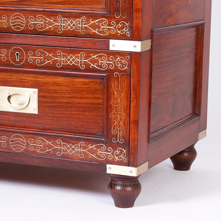 Antique Campaign Rosewood Chest by M. Hayat & Bros In Good Condition For Sale In Palm Beach, FL