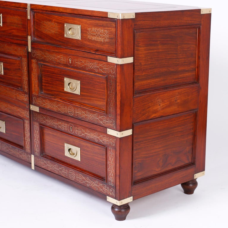 20th Century Antique Campaign Rosewood Chest by M. Hayat & Bros For Sale