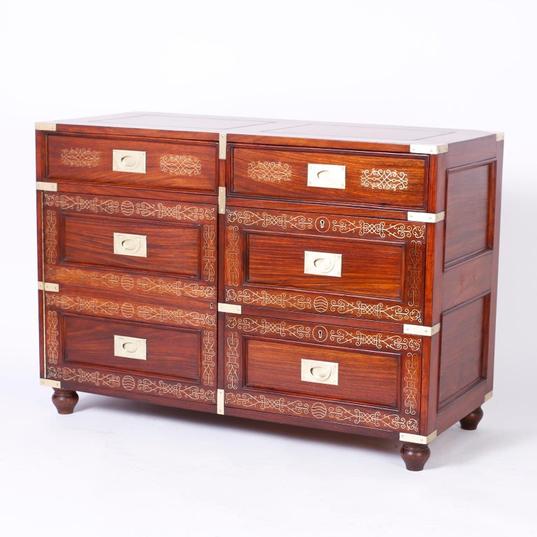 Antique Campaign Rosewood Chest by M. Hayat & Bros For Sale 3