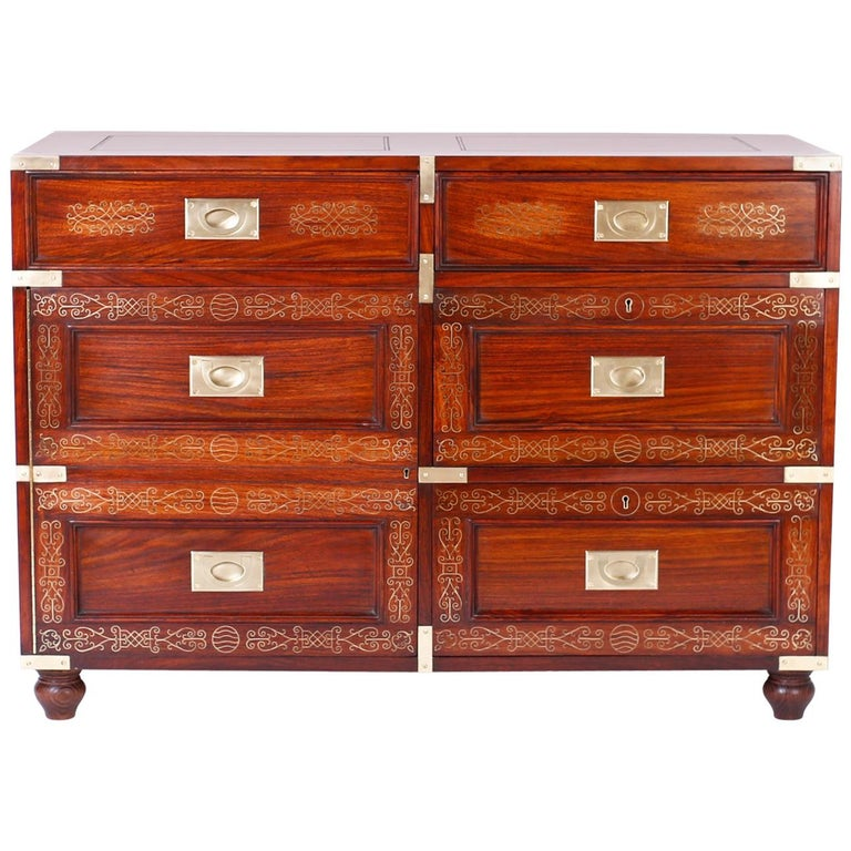 Antique Campaign Rosewood Chest by M. Hayat & Bros For Sale