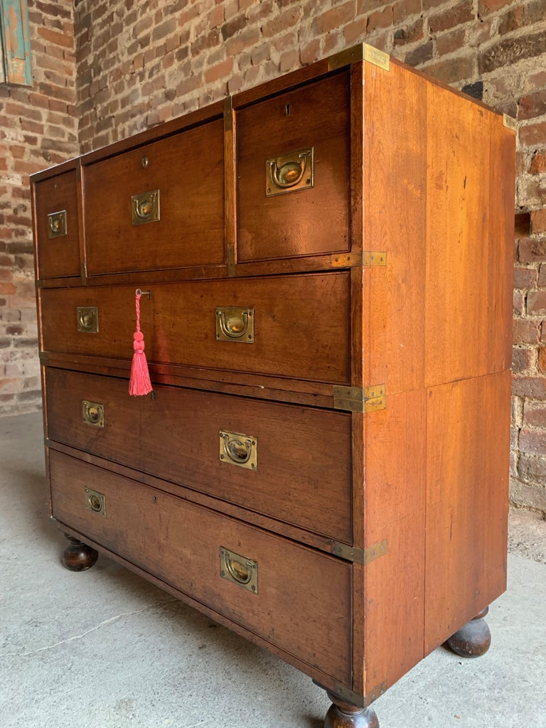 Military Campaign Secretaire Chest Of Drawers Victorian Circa 1890 Number 30