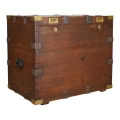 Antique Campaign Silver Chest, English, Oak, Victorian Trunk, Heavy, circa 1852
