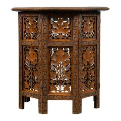 Antique Campaign Table, Carved, Anglo-Indian, Teak, Side, circa 1900
