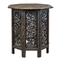 Antique Campaign Table, Carved, Asian Teak, Side, Early 20th Century, circa 1900