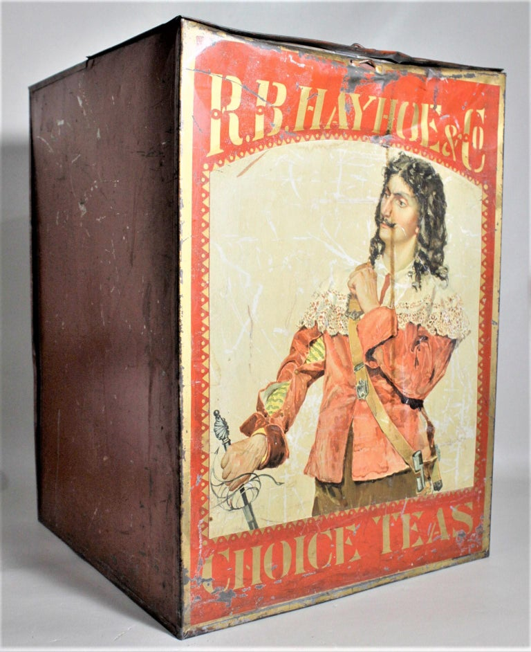 Victorian Antique Canadian General Store R.B. Hay Hoe & Co. Tea Advertising Display Tin For Sale