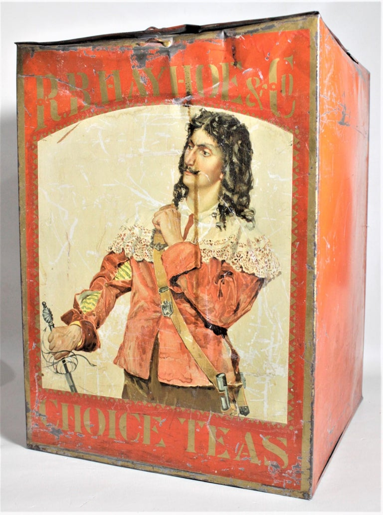Machine-Made Antique Canadian General Store R.B. Hay Hoe & Co. Tea Advertising Display Tin For Sale