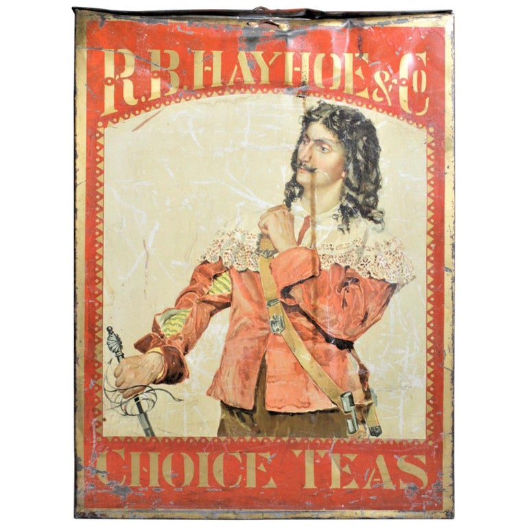 Antique Canadian General Store R.B. Hay Hoe & Co. Tea Advertising Display Tin For Sale
