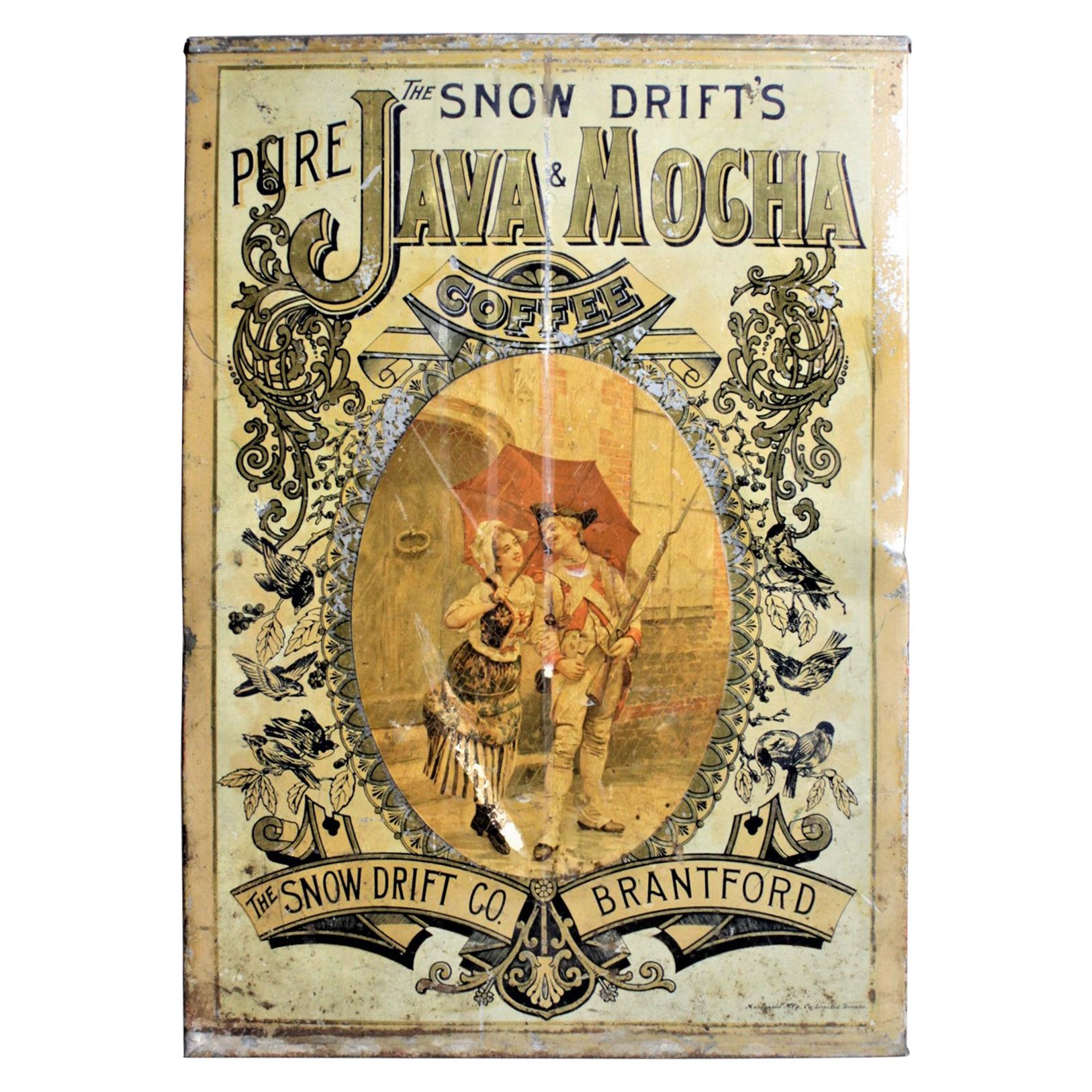 Antique Canadian General Store Snow Drift Mocha Coffee Advertising Display Tin