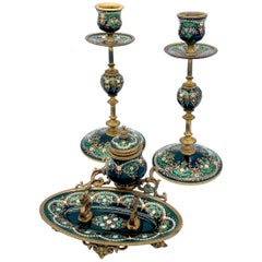Antique Candle Sticks and Inkwell Émeaux de Bresse Desk Set Enamel Brass France