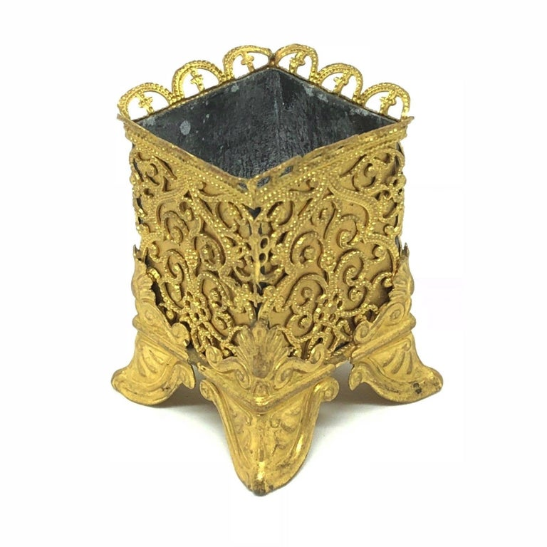 Belle Époque Antique Candlestick and Match Stick Holder Erhard & Sohne Ormolu, 1890s For Sale