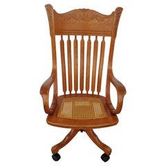 Antique Cane Oak Office Chair