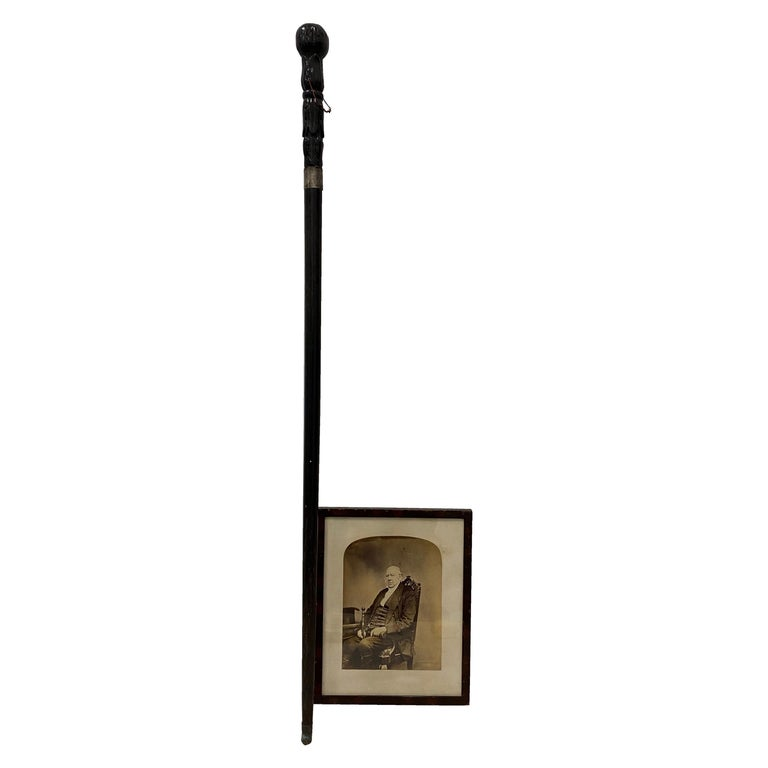 """Antique Cane & Portrait of """"Dr. Montgomery"""", Late 19th Century For Sale"""