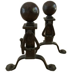 Antique Cannonball Cast Iron Fireplace Andirons Fire Dogs