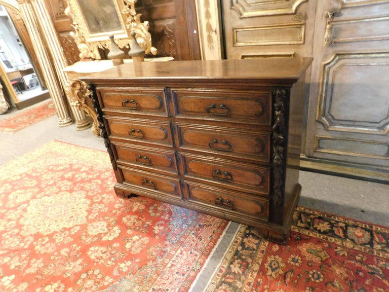 Italian Antique Cantaran, Cabinet with Drawers, Walnut with Bambocci Sculptures, 1600 For Sale