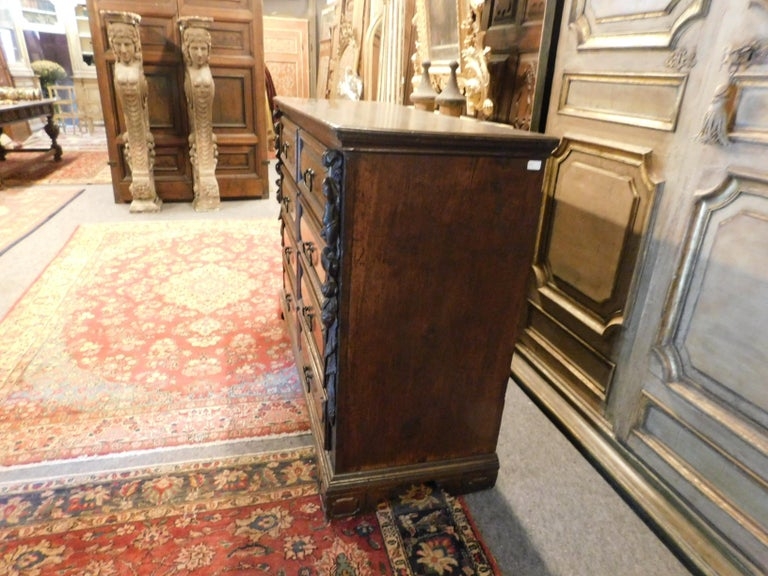 Hand-Carved Antique Cantaran, Cabinet with Drawers, Walnut with Bambocci Sculptures, 1600 For Sale