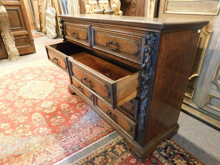 18th Century and Earlier Antique Cantaran, Cabinet with Drawers, Walnut with Bambocci Sculptures, 1600 For Sale