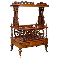 Antique Canterbury Table, English, Victorian, Music Stand, Walnut, circa 1860