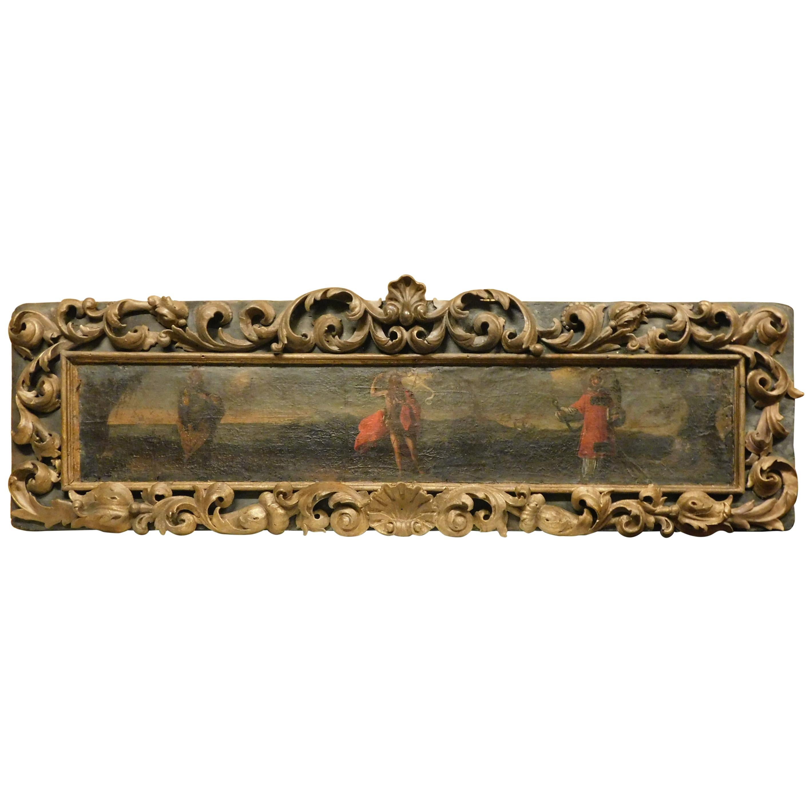 Antique Canvas Panel Painted on Wood, Rich Gold Frame, 18th Century Italy