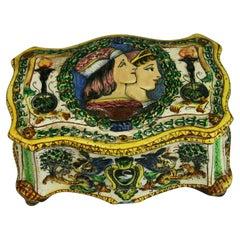 Antique Capo DiMonte Hand Painted Ceramic Box circa 1920's