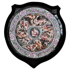 Antique Capo Di Monte Porcelain Shield in Wooden Frame
