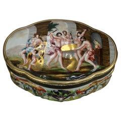 Antique Capodimonte Embossed Porcelain Dresser Box, Classical Scene, c1890