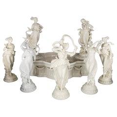 Antique Capodimonte Porcelain Surtout-de-Table Centerpiece Figurines, circa 1890