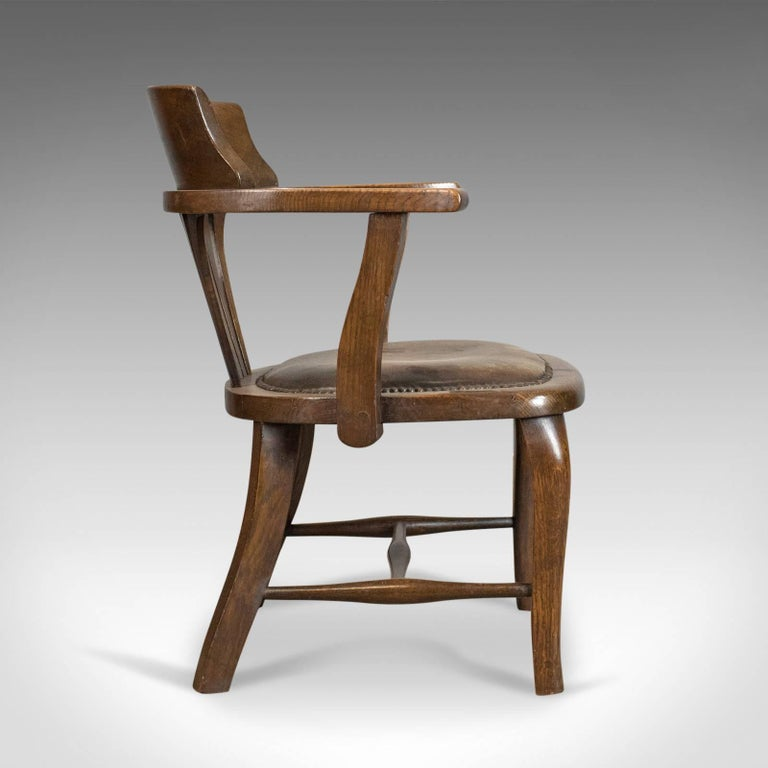 Edwardian Antique Captain's Chair, English, Oak, Bow-Back, Leather, Smokers - Antique Captain's Chair, English, Oak, Bow-Back, Leather, Smokers