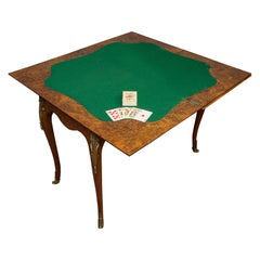 Antique Card Table, French, Burr Walnut, Fold over, Games, Victorian, circa 1870