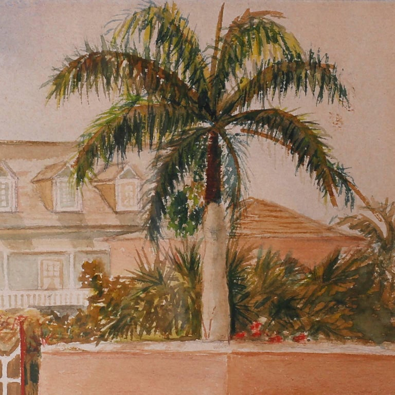 British Colonial Antique Caribbean Watercolor For Sale