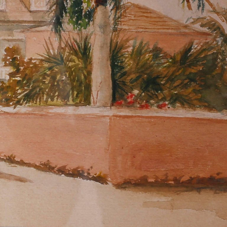 Antique Caribbean Watercolor In Good Condition For Sale In Palm Beach, FL