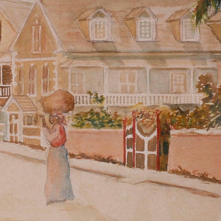 Paint Antique Caribbean Watercolor For Sale
