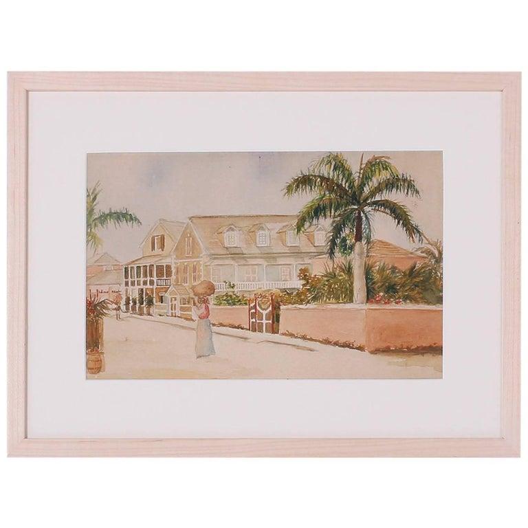 Antique Caribbean Watercolor For Sale