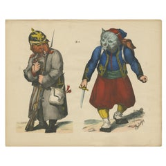 Antique Caricature Print of Reynard the Fox and a Papal Zouave Cat 'c.1860'
