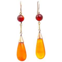 Antique Carnelian and 9 Carat Gold Drop Earrings